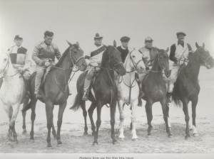 The riders lining up for the race in the The Quiet Man. Billy is second from left.