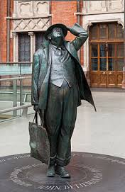 Betjeman and bag statue
