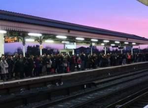 tube strike crowd Clpham Junction