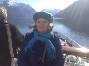 Me at the front of the shipsailing up the Naerofjord the narrowest fjord in Europe