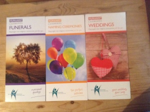BHA leaflets on our ceremonies