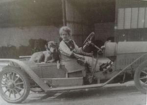 Hilda in the daimler with Kroshka