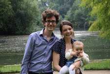 Edith with her Mum and Dad in Battersea Park for her Naming