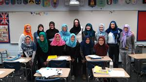 Non Muslim pupils donning a hijab.