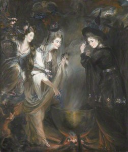 The Three Witches of Macbeth Viscountess Melbourne, Georgina Duchess of Devonshire and Anne Damer by Daniel Gardner