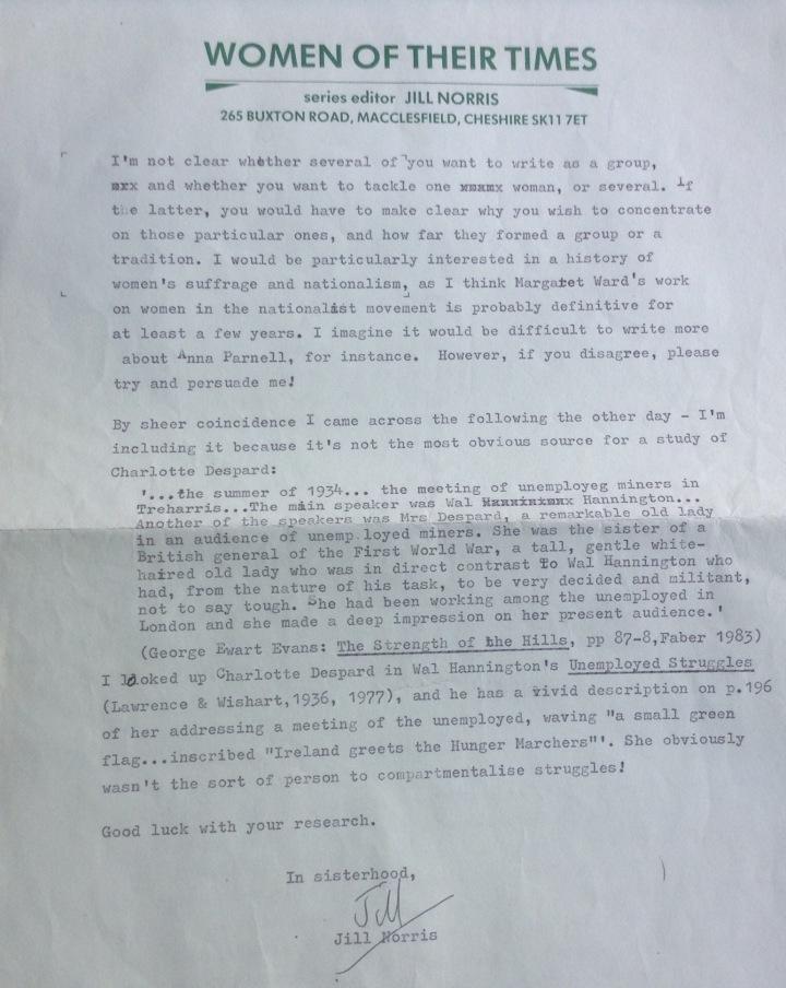 Charlotte letter from Jill Norris