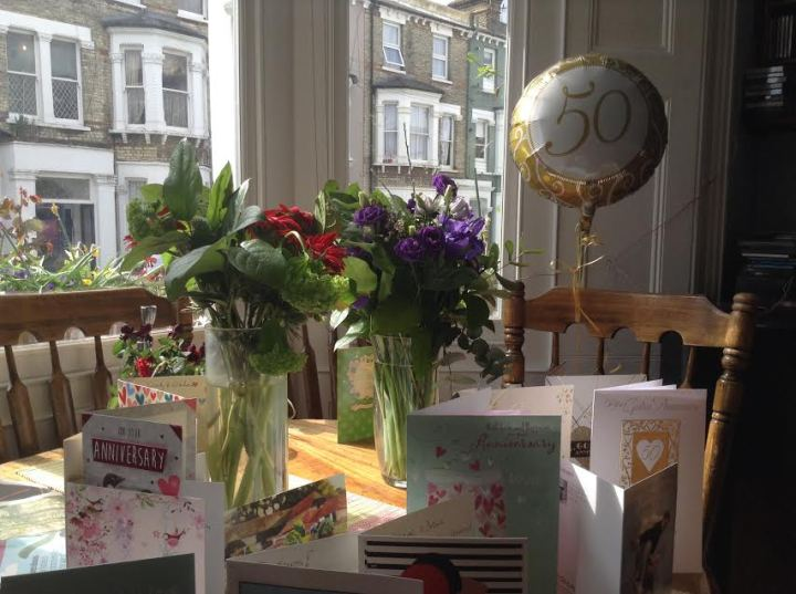 50th cards and flowers