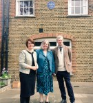 Jane Ellison MP, Jeanne Rathbone and Alyn Shipton in front of the plaque on the music department