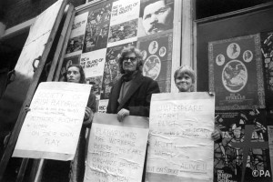 Margaretta and John protesting Royal court