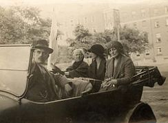 Charlotte and Maud Gonne in car