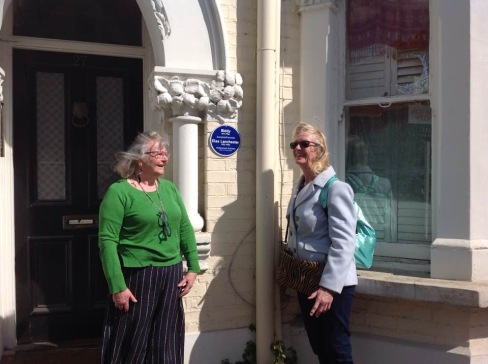 Joan and I with our ersatz paque at 27 Leathwaite Road former family home of Elsa Lanchester