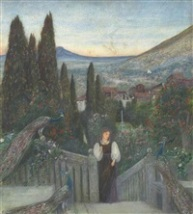 marie-spartali-stillman-a-lady-with-peacocks-in-a-garden,-an-italianate-landscape-beyond
