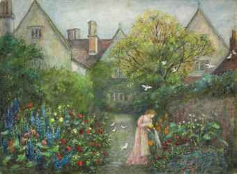 A lady in the garden at Kelmscott Manoro