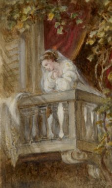 Oil painting on paper, Dame Ellen Terry (1847-1928) as Juliet in William Shakespeare's 'Romeo and Juliet' by Laura Taylor. c.1866.