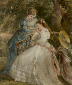 Oil painting on paper, Kate Terry (1844-1924) and Dame Ellen Terry (1847-1928) on a Garden Seat in 'The Hunchback' by Sheridan Knowles by Laura Taylor. c.1866.