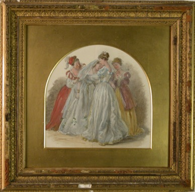 Oil over pencil on paper, Kate Terry, later Mrs Arthur Lewis (1844-1924) as 'Beatrice' and Dame Ellen Terry (1847-1928) as 'Hero' in William Shakespeare's 'Much Ado About Nothing' by Laura Taylor. The Church scene. c.1860.