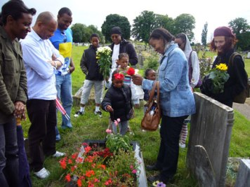 Family and friends gather for a memorial in July 2008
